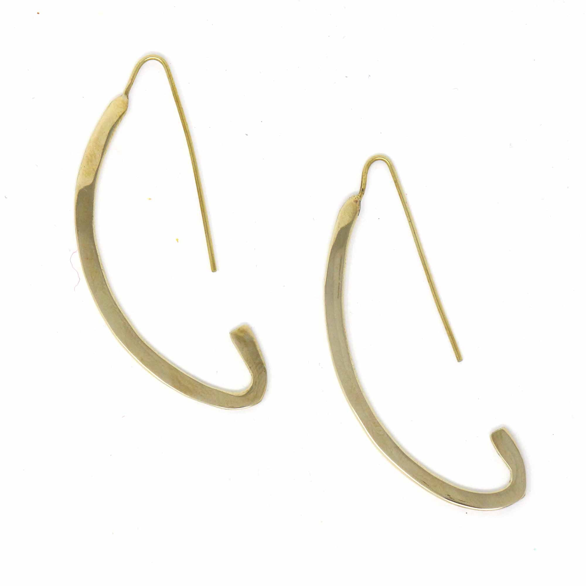 Brass C  Open Hoop Earrings