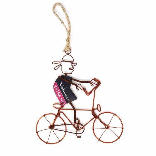 Recycled Wire Ornament Bandana Bicycle Rider