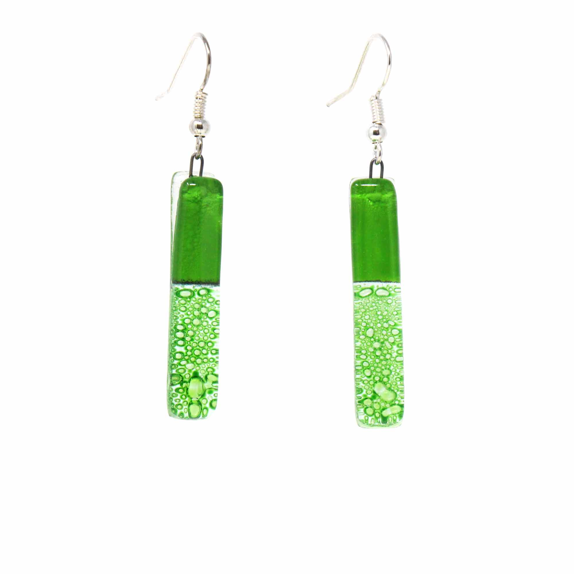 Long Rectangle Glass Dangle Earrings, Green Bubbles