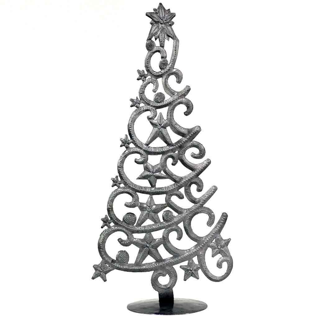 "Christmas Tree with Stars Haitian Drum Metal Tabletop Décor, 14"" Tall"