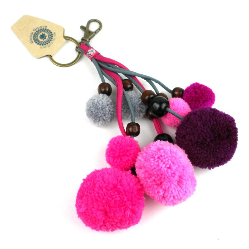 Boho Keychain Collection Pom Pom, Pink