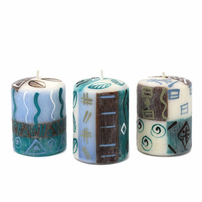 Hand Painted Short Pillar Candles, Three in Gift Box (Maji Design)