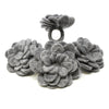 Hand Crafted Felt: Set of 4 Napkin Rings, Steel Grey Zinnias