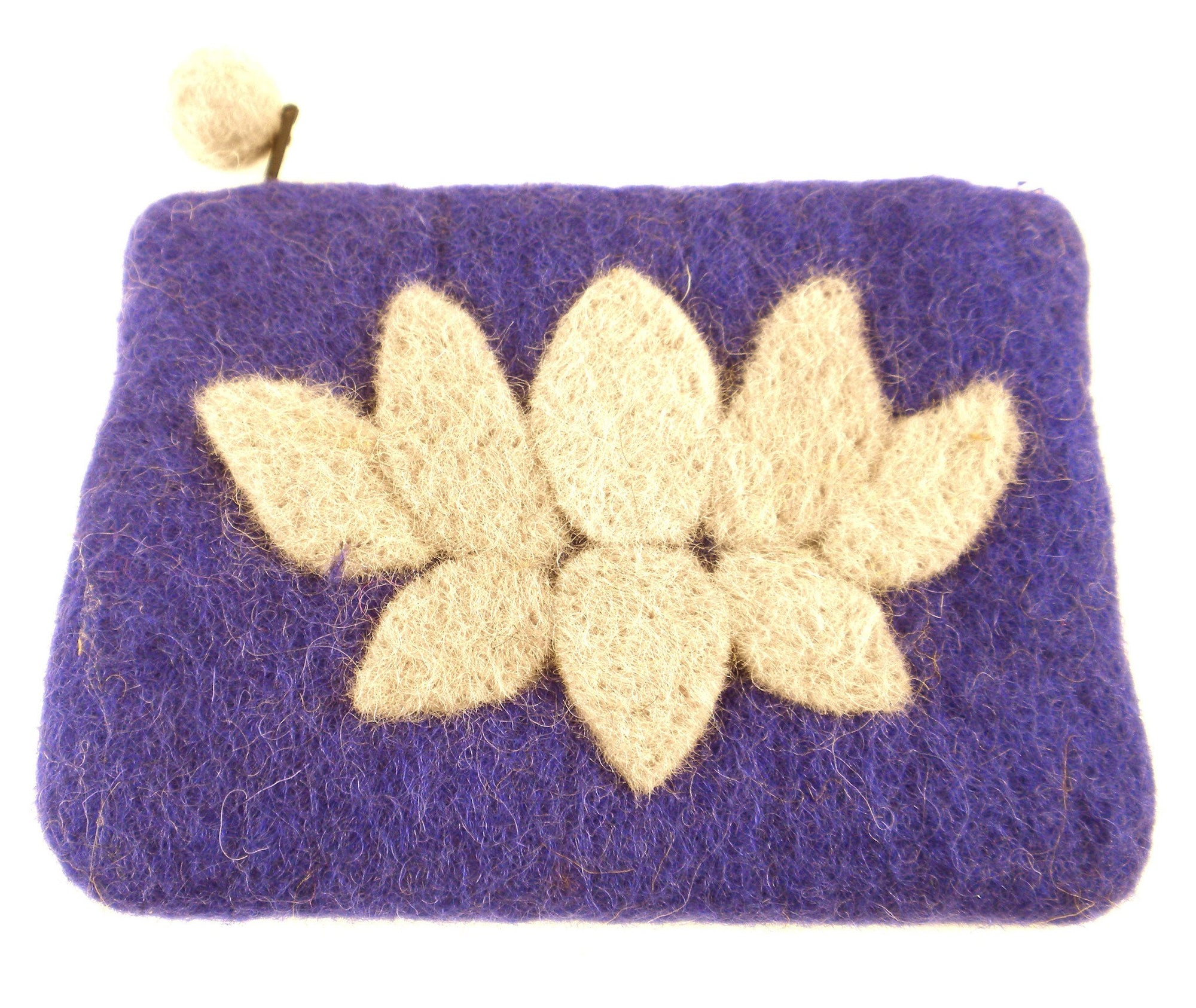 Hand Crafted Felt Pouch from Nepal: Lotus Flower, Purple