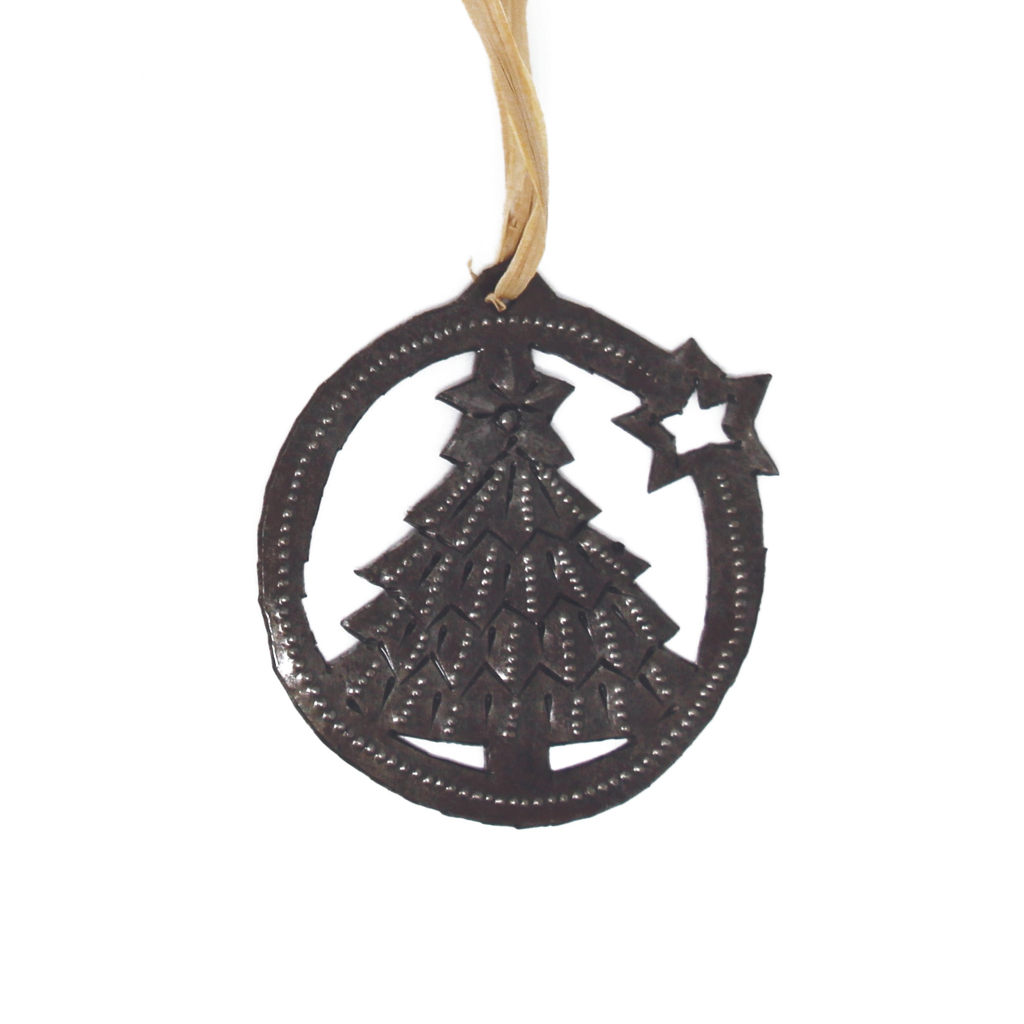 Tree and Star Design Steel Drum Ornament