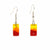Rectangle Glass Dangle Earrings, Red & Yellow Fire