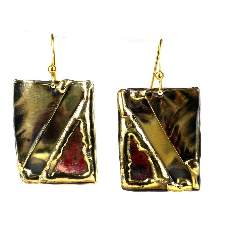 Red Copper and Brass Rectangular Earrings