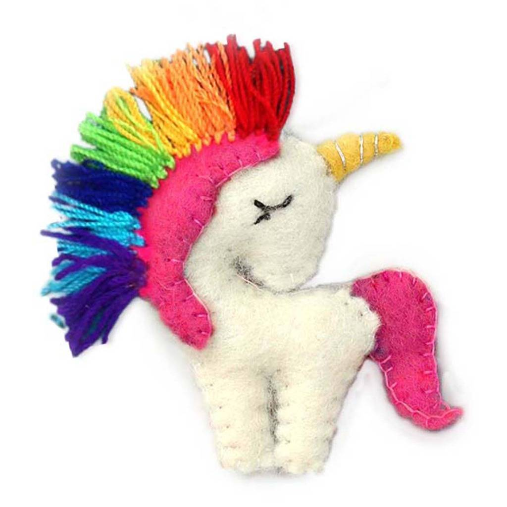 Hand Crafted Felt from Nepal: Ornament, Unicorn with Rainbow