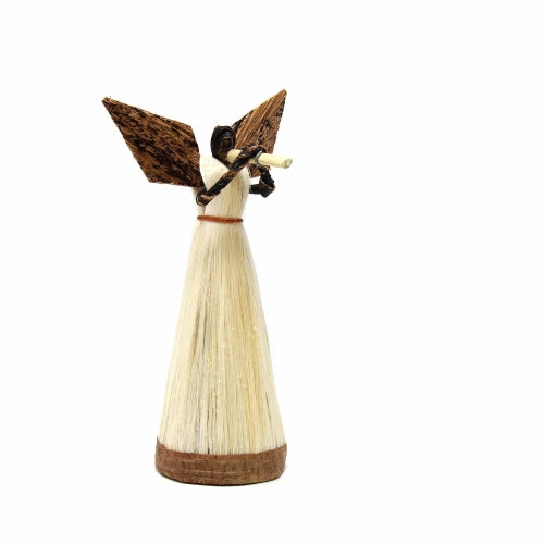 5 Inch Sisal Angel Ornament, Horn