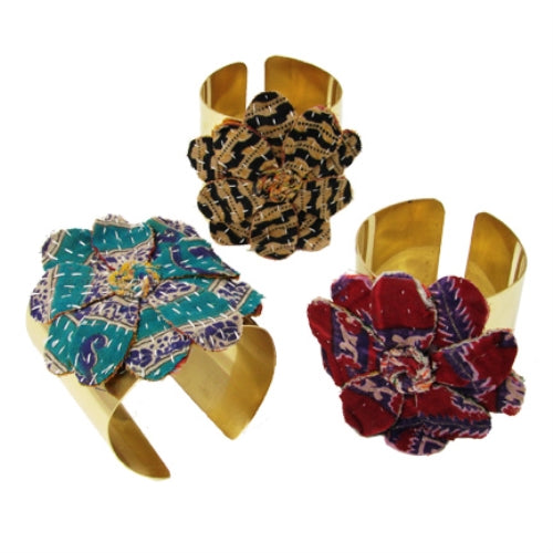 Kantha Flower Cuff, assorted patterns and colors