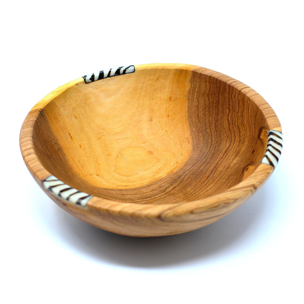 Rustic Olive Wood Bowl with Bone Inlay, 6""