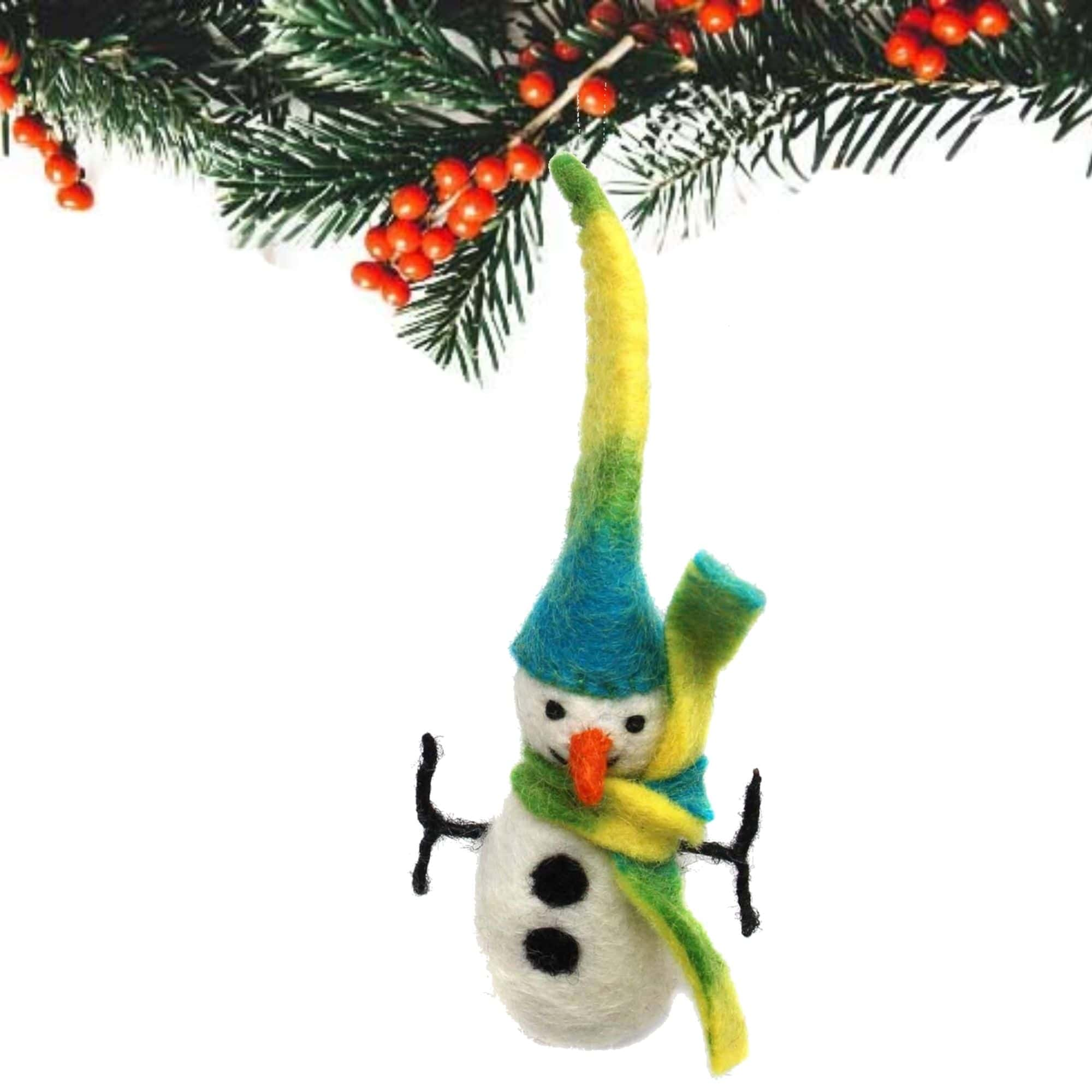 Icy Winter Snowman Felt Ornament