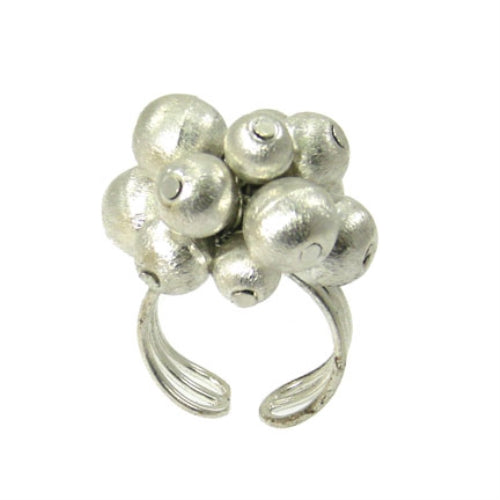 Metallic Ball Bead Rings, adjustable - silver
