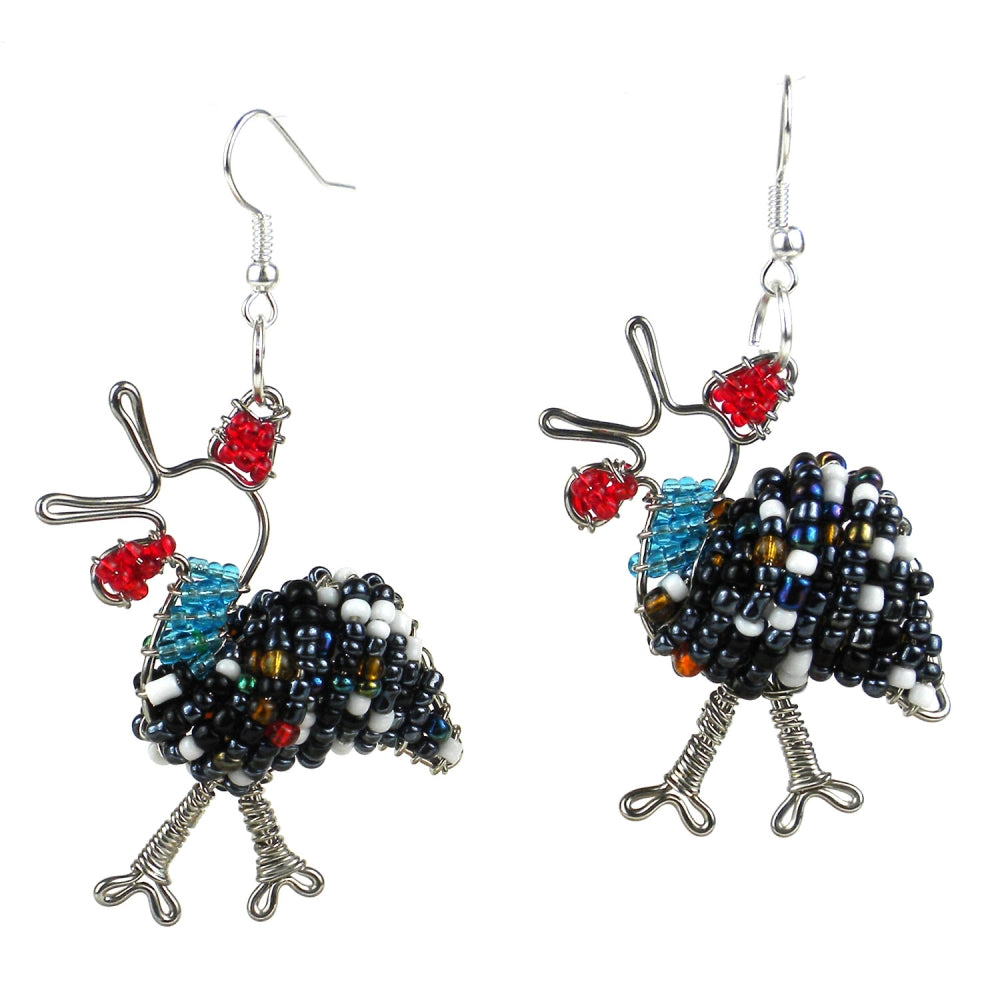 Beaded Guinea Fowl Earrings