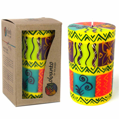 Hand-Painted Pillar Candle in Gift Box, 4-inch (Matuko Design)