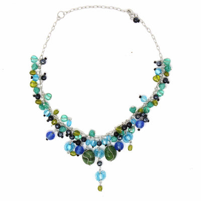 Green/Blue Multi-bead Necklace