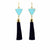 Gold and Turquoise Triangle Tassel Earrings