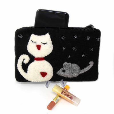 Cat Felt Zipper Pouch