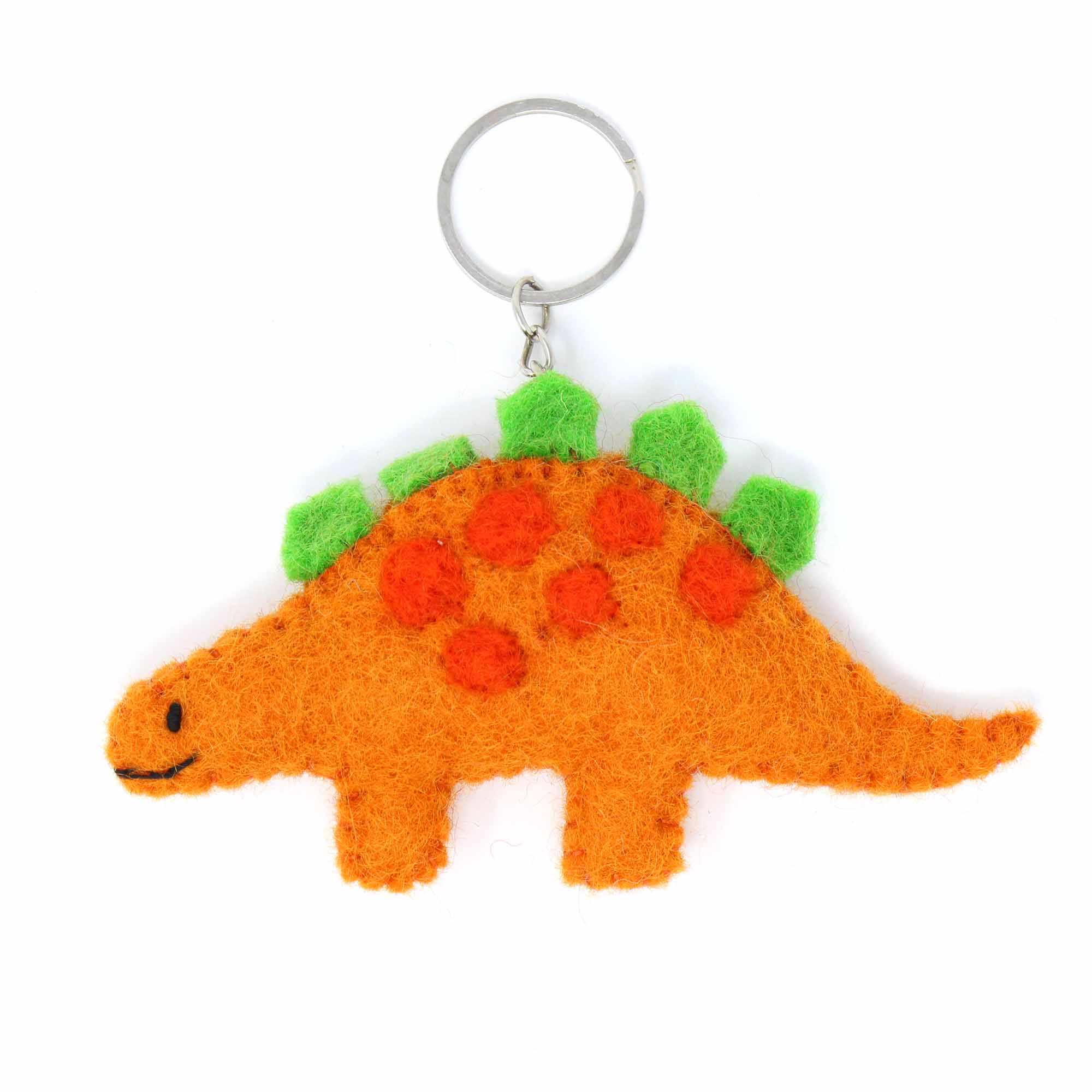 Hand Crafted Felt from Nepal: Key Chain, Stegosaurus