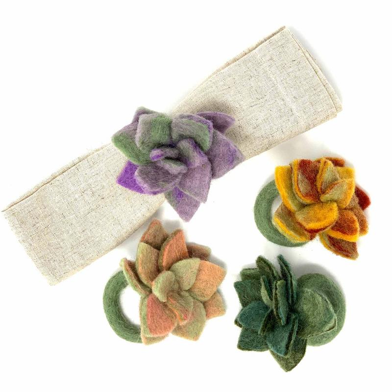 Hand Crafted Felt from Nepal: Set of 4 Napkin Rings, Assorted Succulents