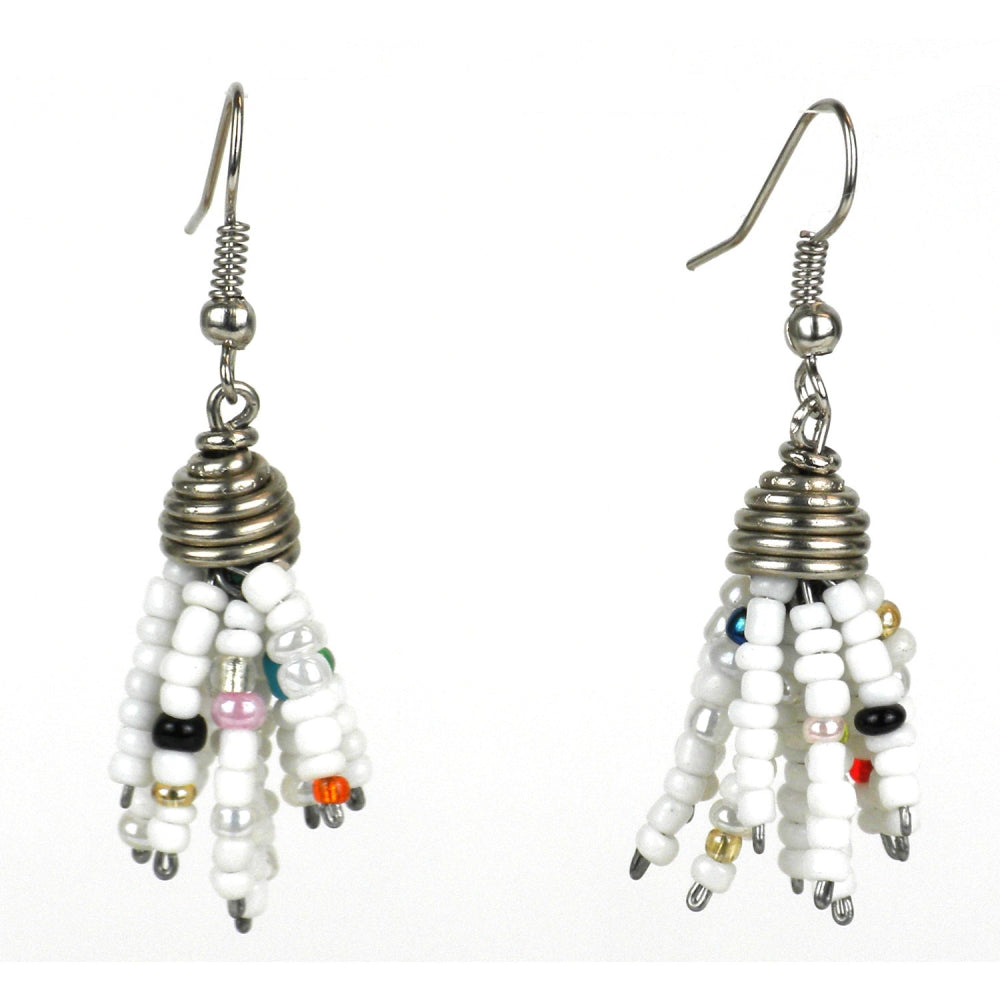 Maasai Beaded Spike Earrings White