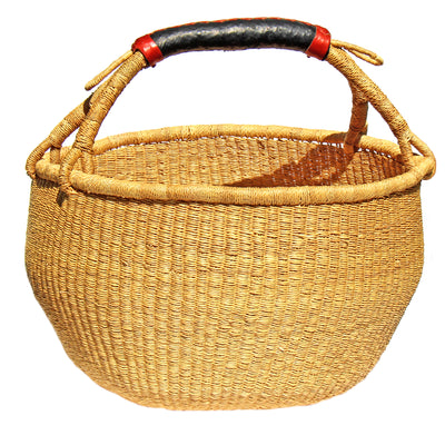 Bolga Market Basket, Extra Large - Natural with Leather Handle