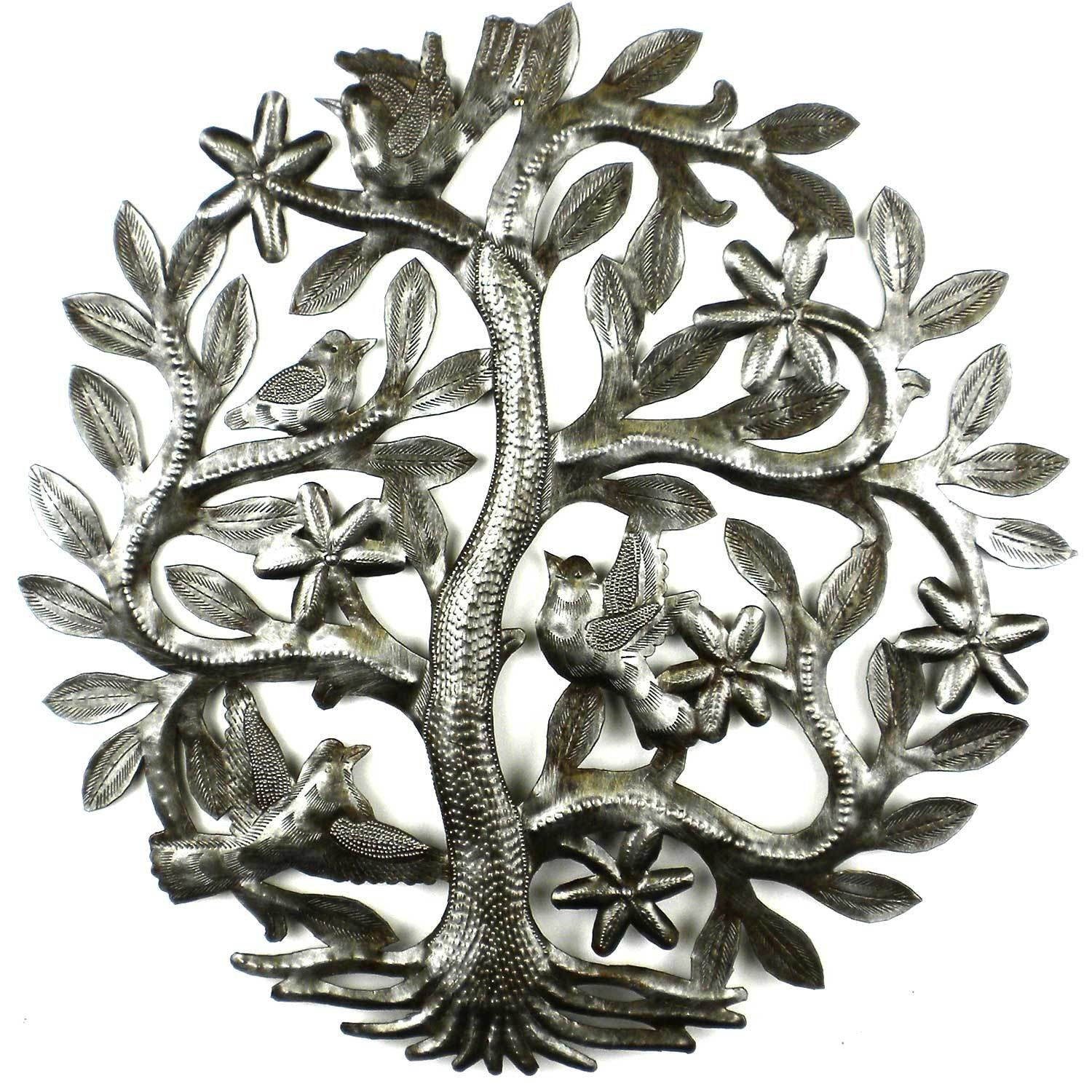 Tree of Life Birds Haitian Metal Drum Wall Art, 14""