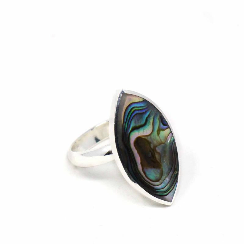 Abalone Silver Marquise Adjustable Ring,