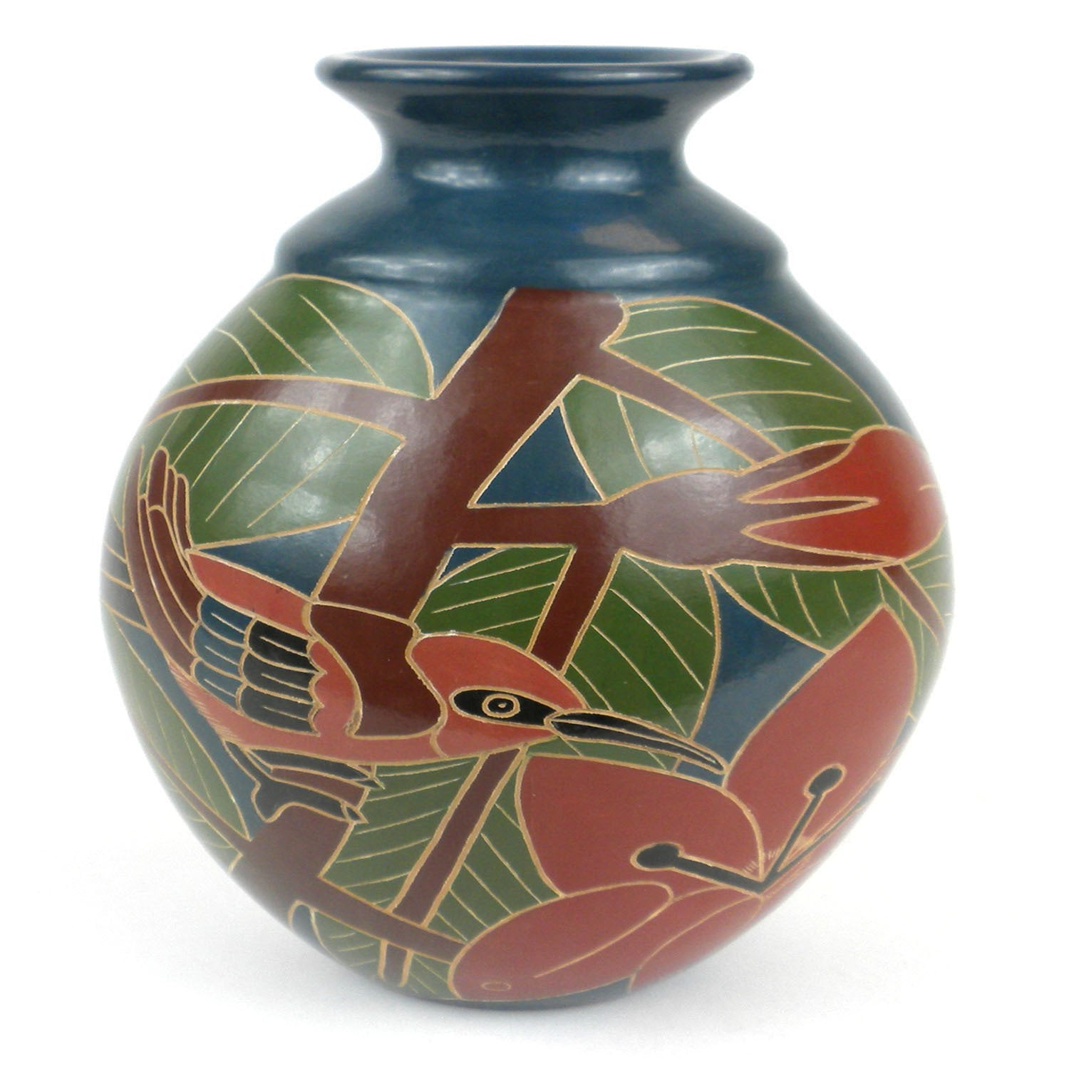 8 inch Tall Vase - Red Bird