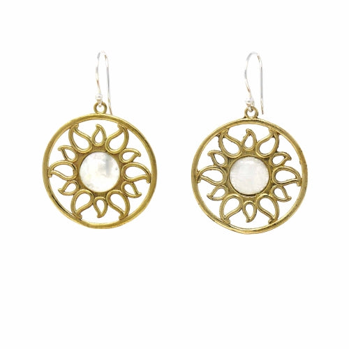 Brass Radiating Sun Earrings
