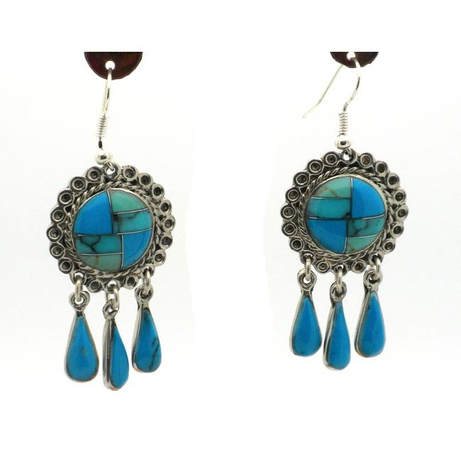 Turquoise and Alpaca Silver Dangle Earrings