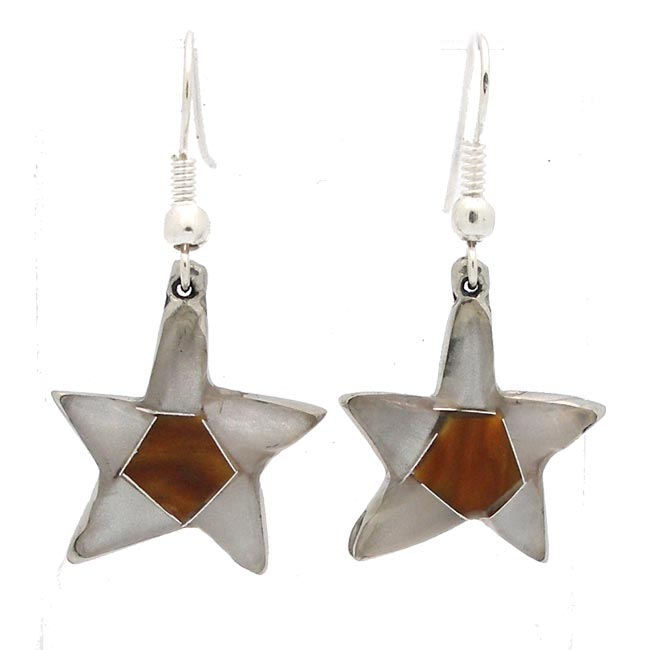 Quartz and Stone Star Earrings