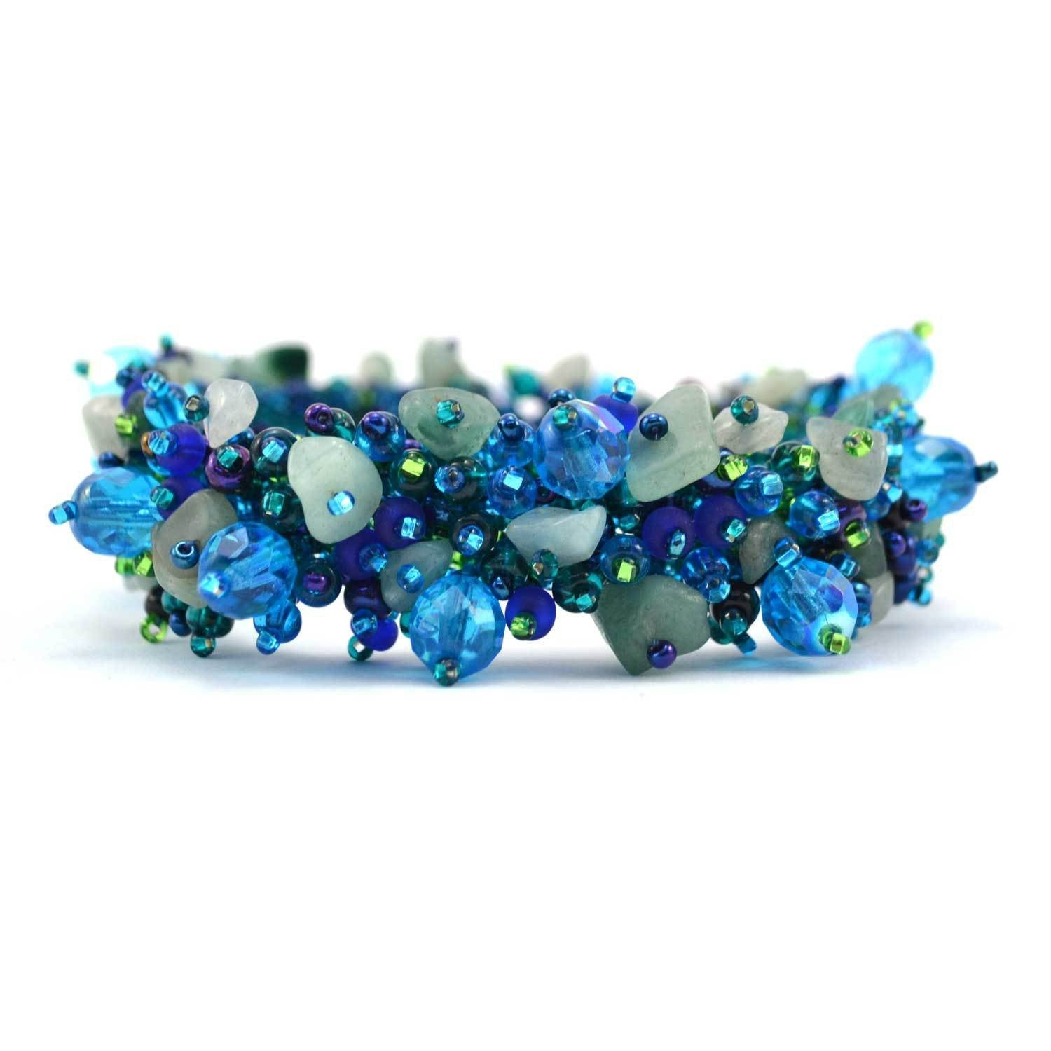 Magnetic Stone Caterpillar Bracelet  Blue