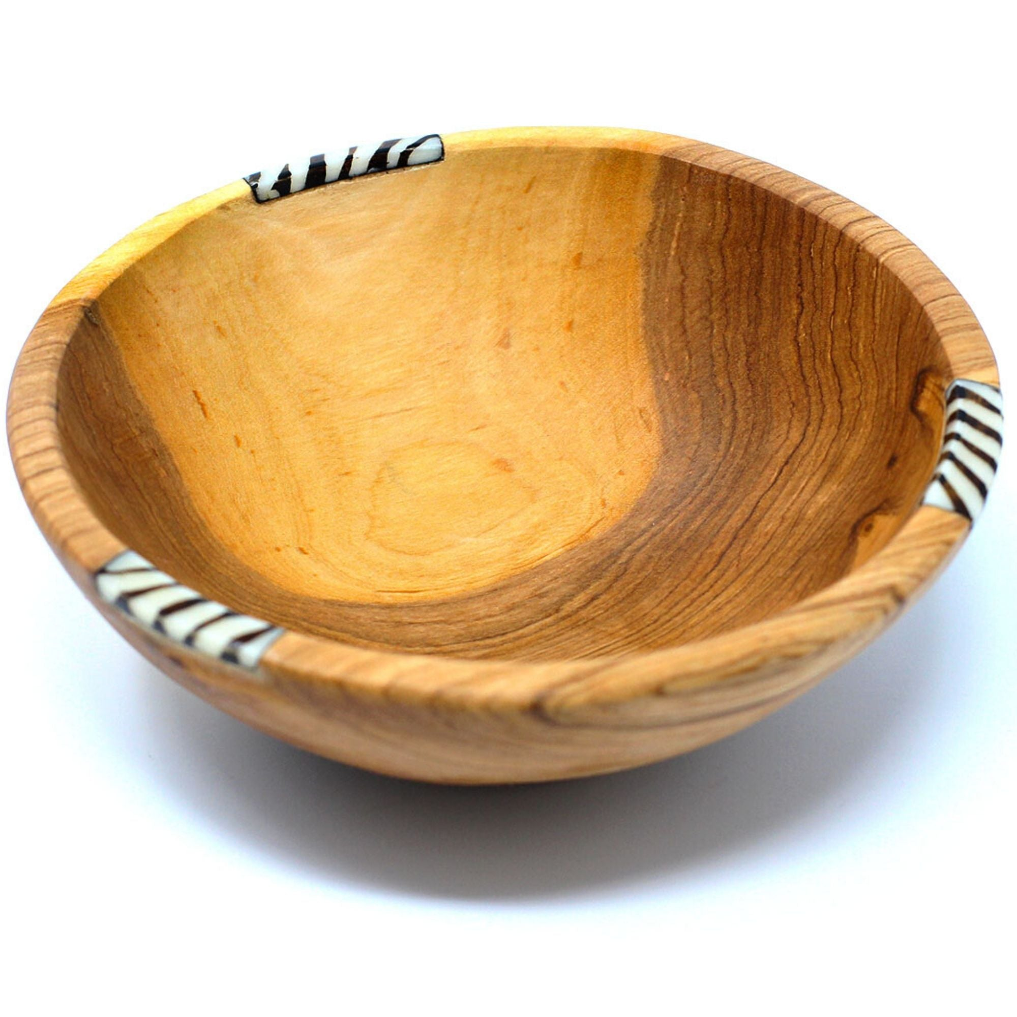 Rustic Olive Wood Bowl with Batik Bone Inlay, 10""