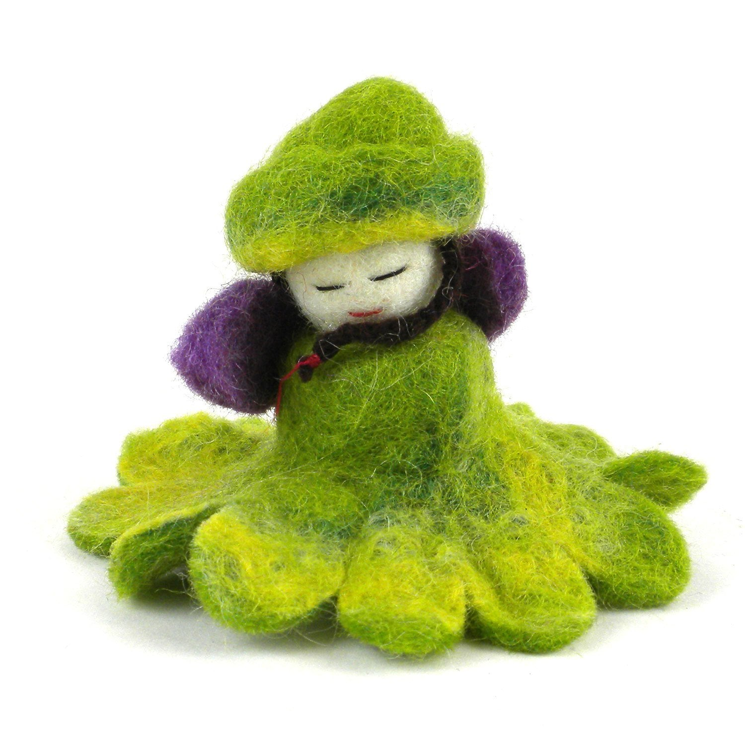 Green Felt Flower Fairy, 3 inches