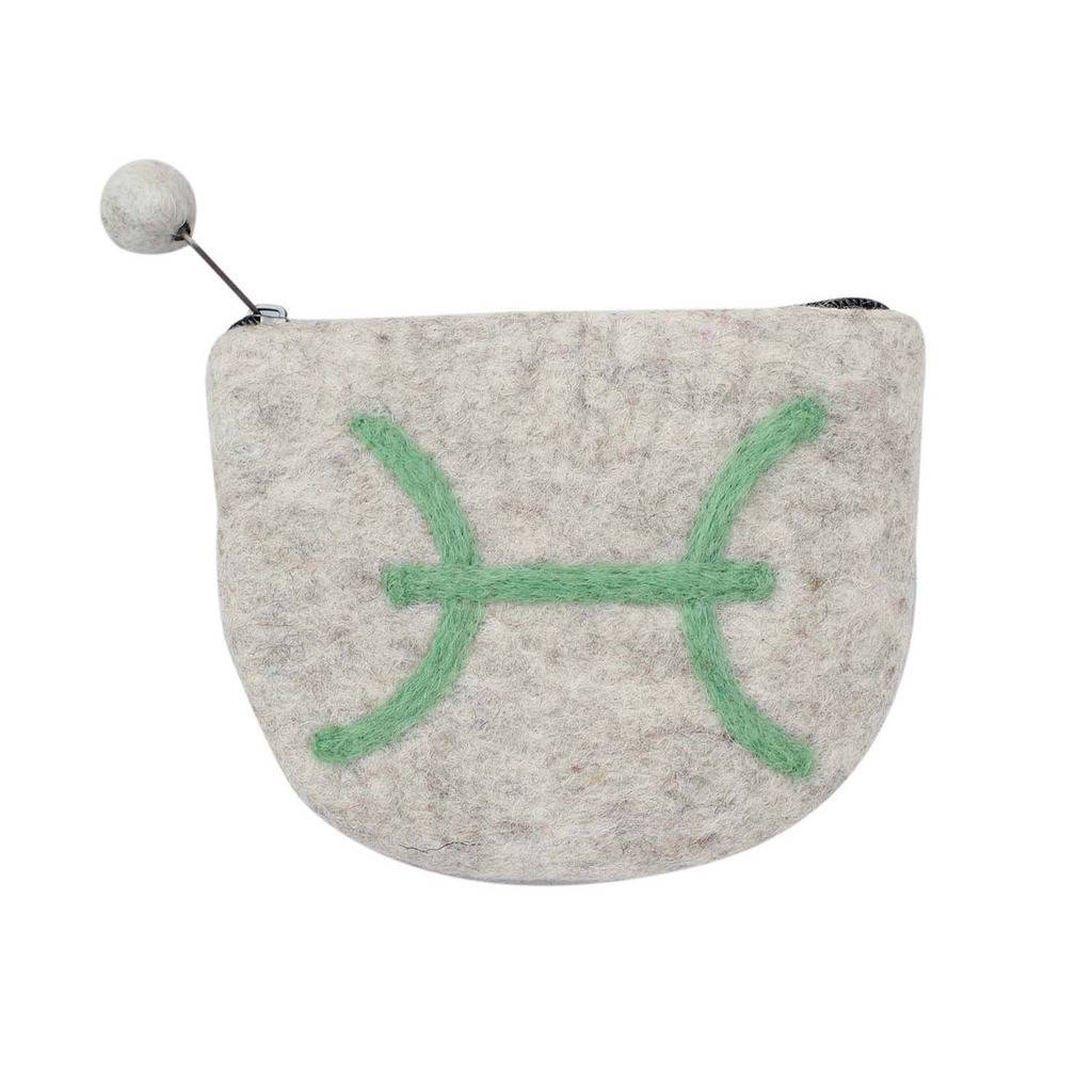 Hand Crafted Felt Pouch from Nepal: Zodiac, Pisces