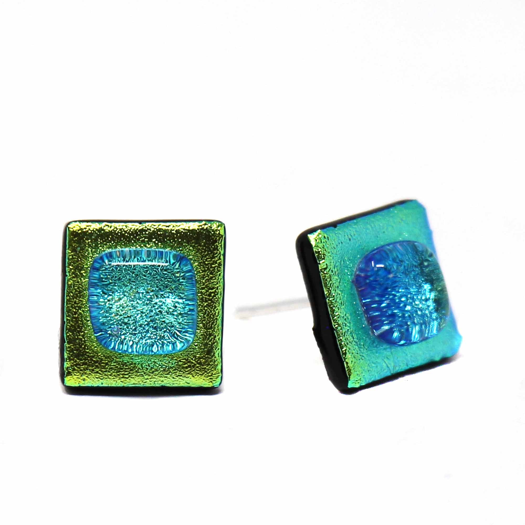 Square Glass Stud Earrings, Limey - Pack of 3