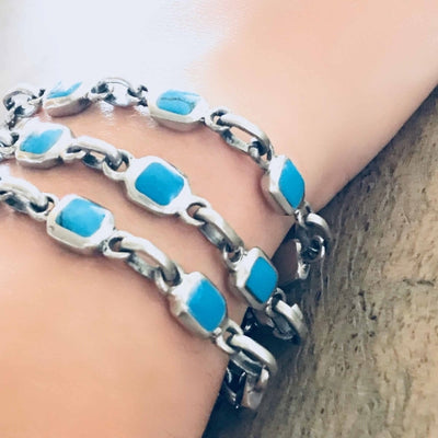 Alpaca Silver and Turquoise Cube Bracelet