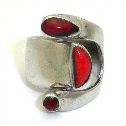 Wide Red Jasper and Silver Ring - Size 6