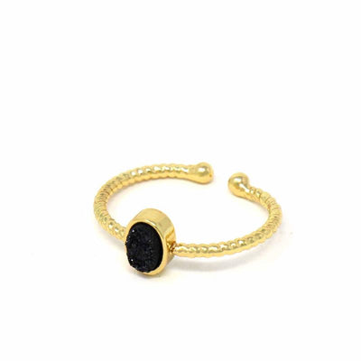 Ring: Black Druzy Agate Stone