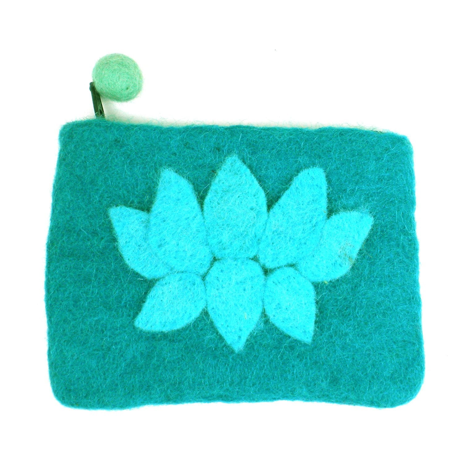 Hand Crafted Felt Pouch from Nepal: Lotus Flower, Turquoise