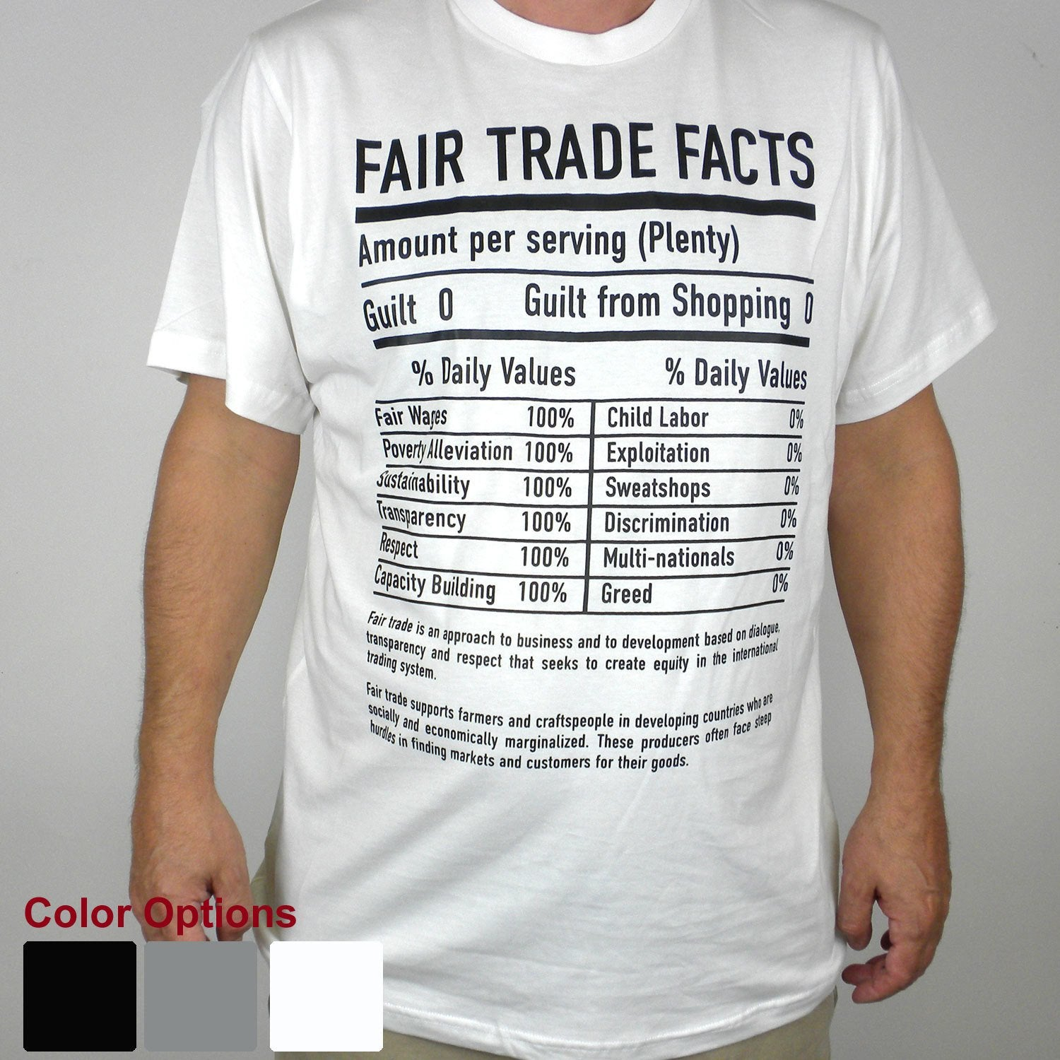 White Tee Shirt FT Facts on Front - Unisex Small