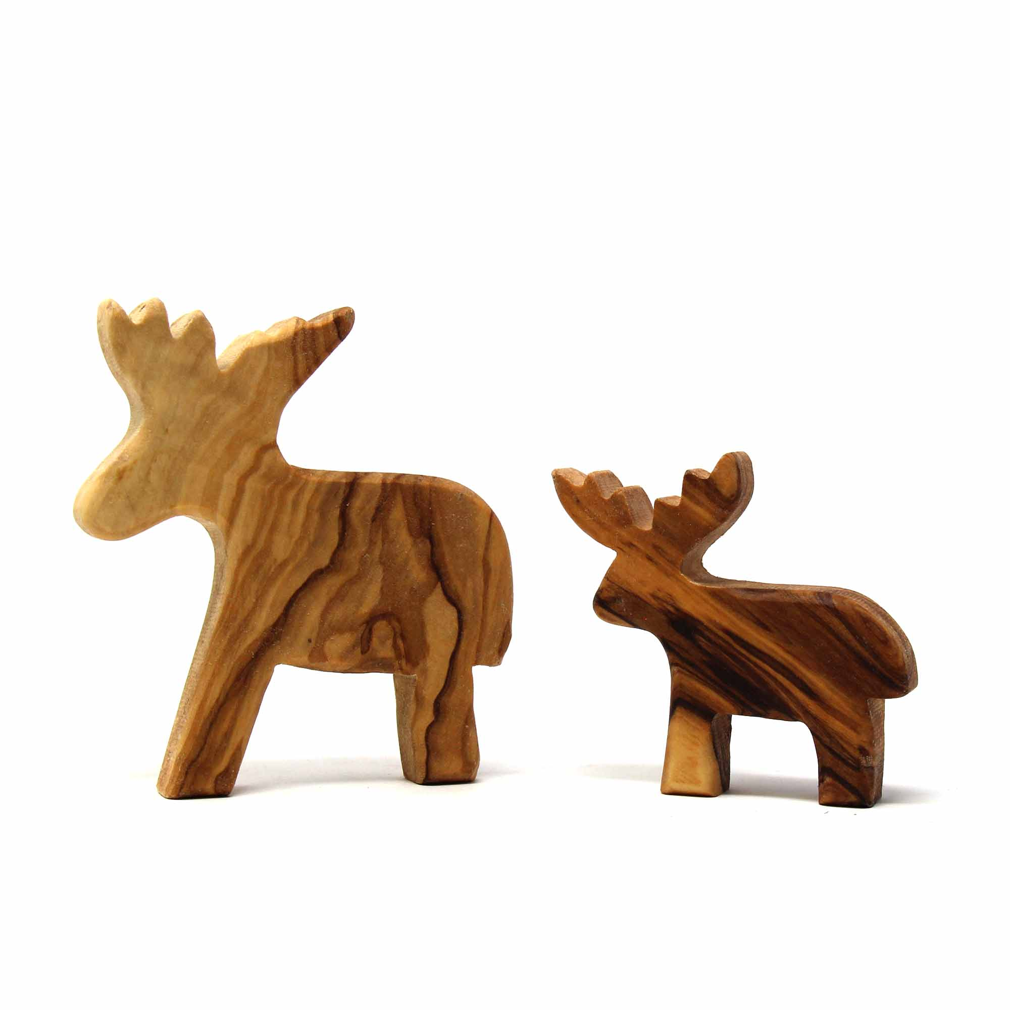 Set of Two Olive Wood Reindeers - Large and Small