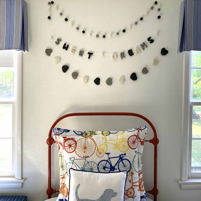 Hand Crafted Felt from Nepal: Sweet Dreams Garland, Grey/White