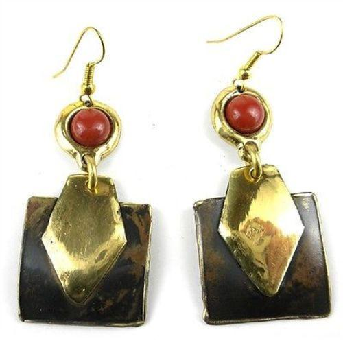 Circle Over Square Brass and Jasper Earrings