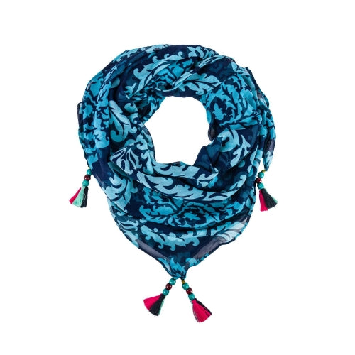 Square Tassel Sari Scarf - Assorted Colors