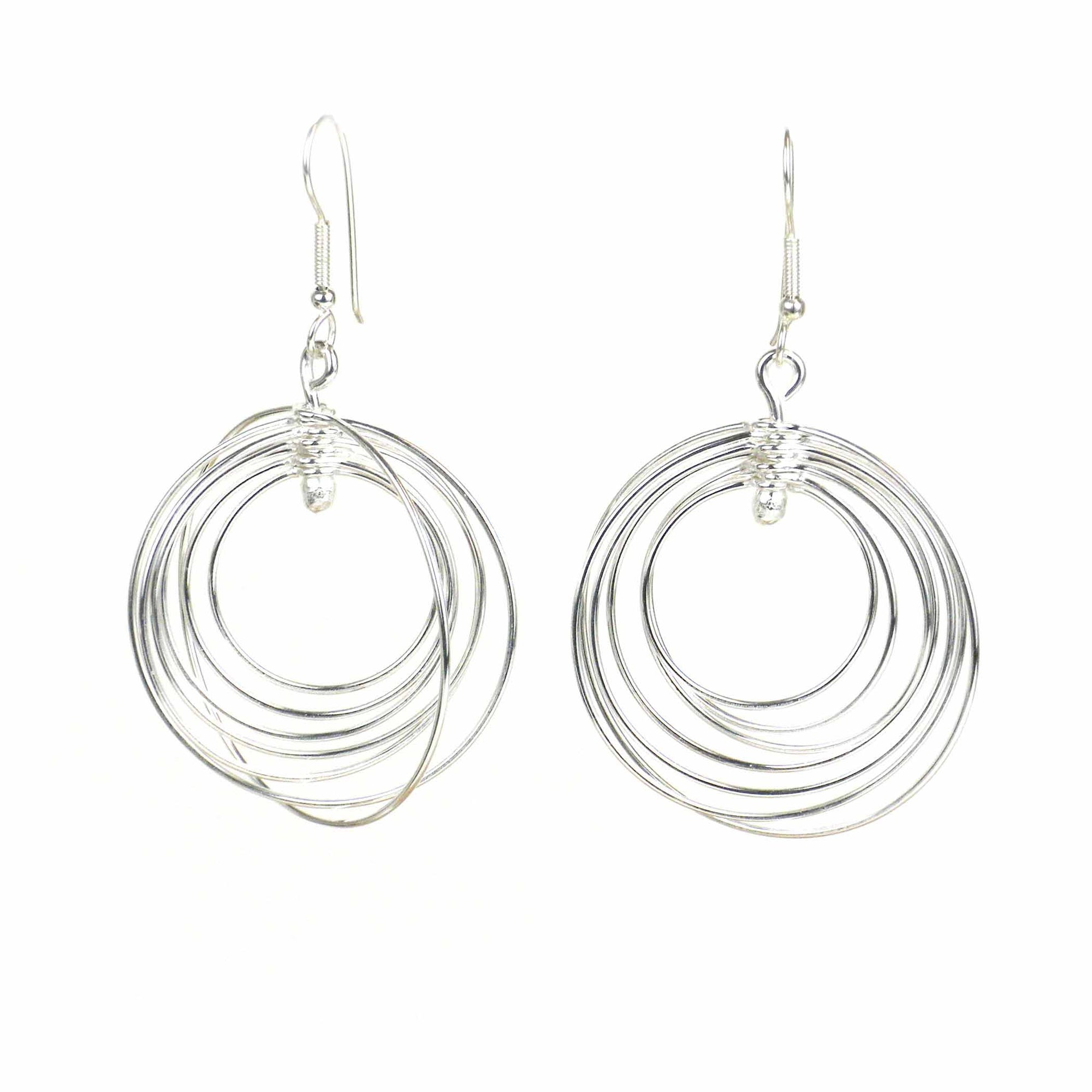 Large Silver-plated 7 Circles Earrings