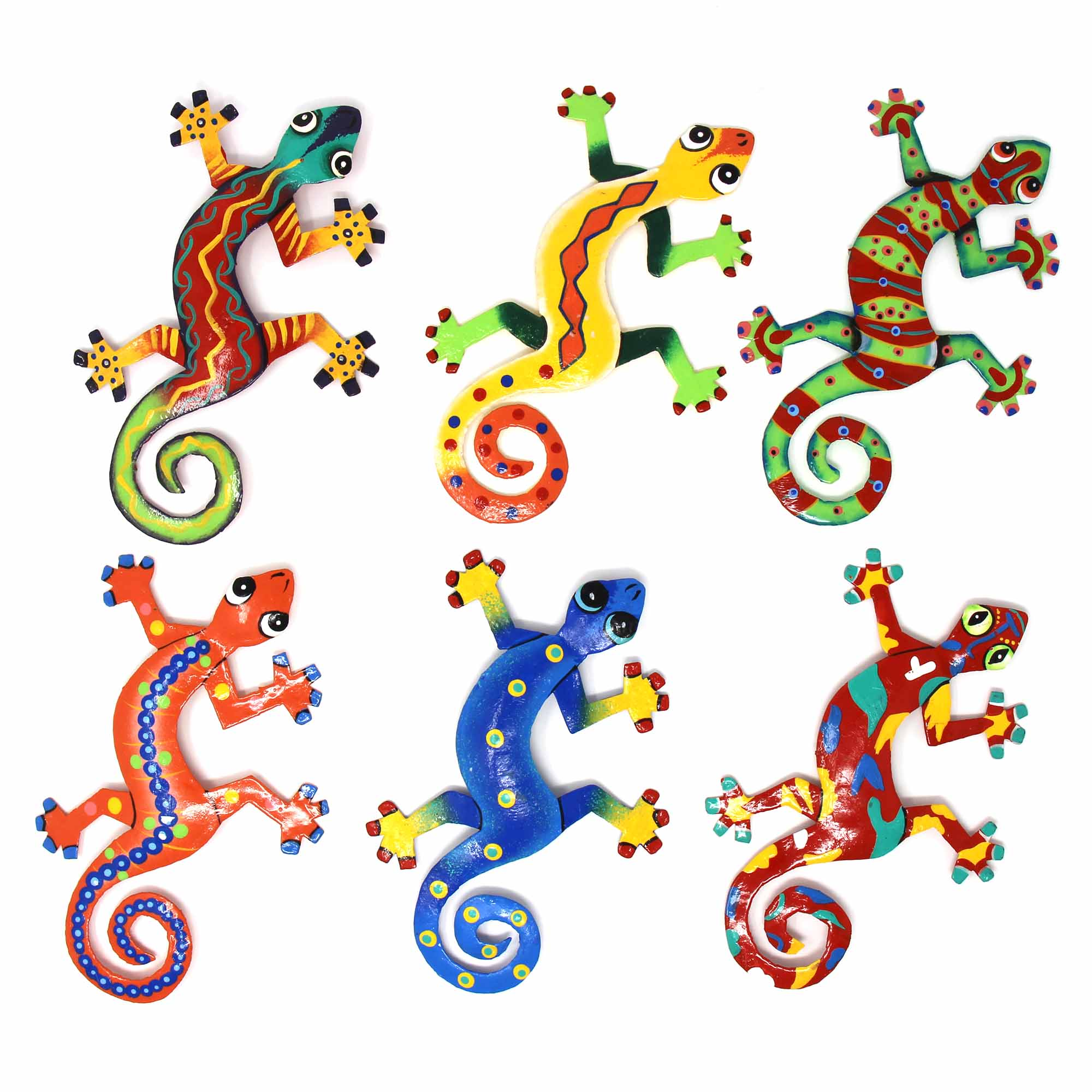 Eight inch Painted Metal Drum Art Gecko Wall Hanging Assorted