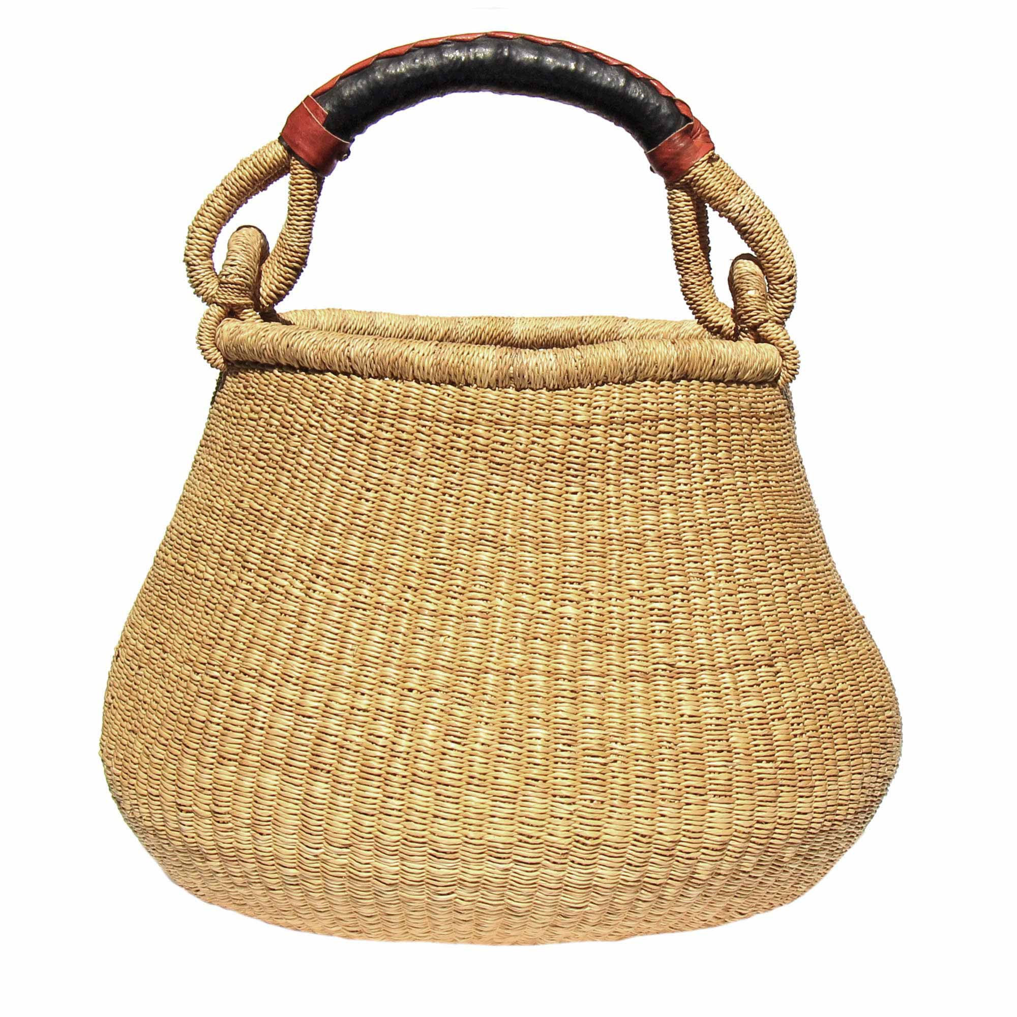 Bolga Pot Basket - Natural with Leather Handle