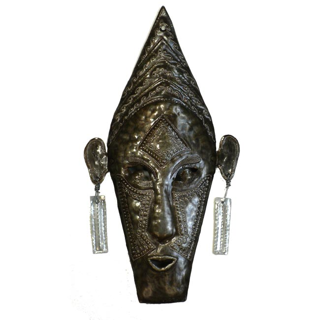 "CLEARANCE Tribal Diety Mask  Haitian Metal Drum Wall Art (17"" x 9"")"